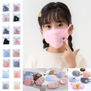 US Stock, Cute Cartoon Kids Girls Boys Face Masks Winter Dustproof Cold Warm Mask Protective Masks fy9230