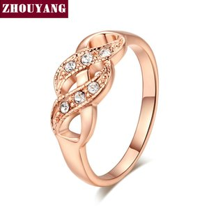ZHOUYANG Ring For Women Simple Style Wave Shape Austrian Crystals Rose Gold Color & Silver Color Fashion Jewelry ZYR334 ZYR226