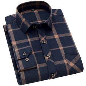 Aoliwen brand men Yellow black Plaid Brushed Long Sleeve Shirt pocket Spring casual men's shirts flannel cotton soft fit 201021