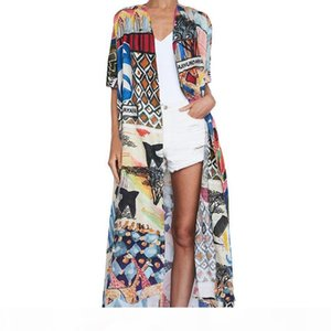 2020 Bohemian Printed Half Sleeve Summer Beach Wear Long Kimono Cardigan Cotton Tunic Women Tops Blouse Shirt Sarong plage N796 CX200615