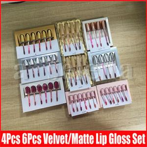 9 Stil Dudak Makyaj Doğum Günü Koleksiyonu Mat Kadife Sıvı Ruj Dudak Parlatıcısı Kiti 6 adet / takım Altın Gümüş Sevgililer Nudes Koko Lipgloss Set