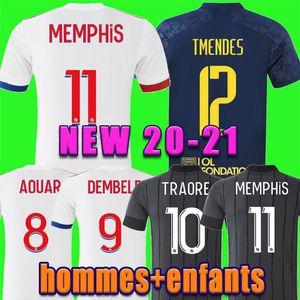 20 21 Maillot de foot lyonnais футбол джерси 2020 2021 aouar dembele mailoot de Футболка Traore Memphis OL Мужчины Детские рубашки Новый