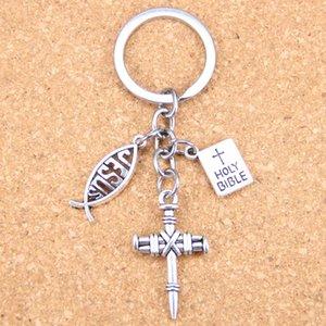 New DIY moda Keychain Jesus Cruz Livro da Bíblia Sagrada pingentes de jóias homens chave do carro Lembrança Cadeia para o presente