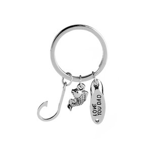 LOVE YOU DAD Fish Hook Keychain Fishhook Key chain Key Rings Best Father Day Gift Will and Sandy Drop Ship 340040
