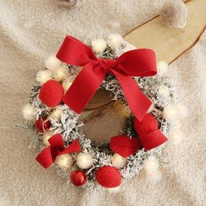 Christmas Wreath Handmade Rattan Flocking Ball Garland Flower Xmas Tree Door Hanging Wreath with LED String Light Wall Decor