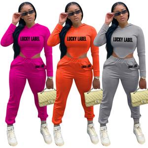 Ropa para Mujer Set de 2 unidades invierno sólido de la manera de la letra de impresión en color con capucha de manga larga 2pcs Diseñadores de ropa de las mujeres