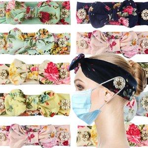 Masque bandeau élastique Anti Strangulation Bouton cheveux Bande Divers Couleur fleur bandeau extérieur Sport Sweat Party Cadeau GWB2659