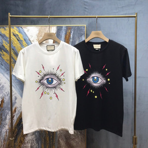 2020 Printemps Summer Europe Italie Grand Eye Print Tshirt Fashion Mesigneur T-shirts Femmes Coton Coton Sleeve Top