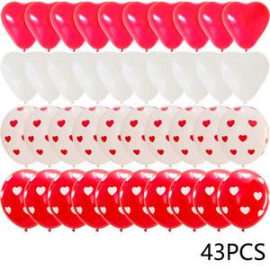 43pcs ballons de coeur rouge décorations kit de mariage décors de la Saint-Valentin cadeaux cadeaux heart latex confetti globos hélium gwd4678