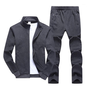 Mens Casual Tracksuit Slim Fit Solid Zipper Sets Jackets+Pants Men's Sportswear Two Piece Sweatsuits Stand Male Sporting Suit1