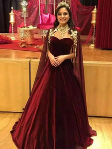 Elegant Saudi Arabic Burgundy Velvet Chiffon Evening Dresses with Cape Women Formal Gowns Party Wear High Neck Prom Dress L113