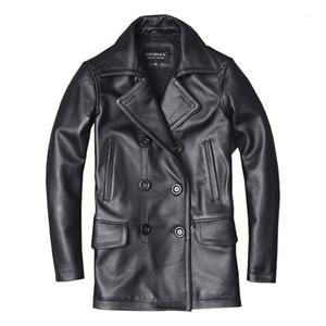 Seveyfan Натуральная кожа длинная траншея пальто с двубортной черной тонкой реальной воловьей кожаной куртки для мужчин R31451