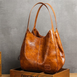 Casual Women Handbag Purse Large Capacity Tote High Quality Lady Vintage Hobo Soft Patchwork Shoulder Bag Brown Q1104