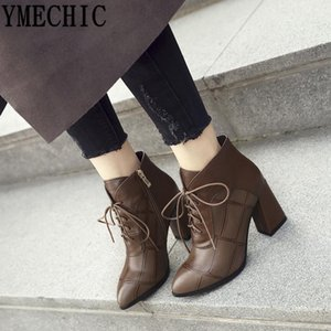 YMECHIC 2020 Winter Womens Ankle Boots Pointed Toe Lace Up High Heels Combat Boots for Women Booties Motorcycle Plus Size