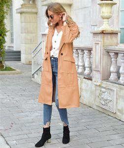 Manga larga color sólido gruesas damas mezclas chaquetas casual hembra suelta ropa exterior otoño invierno mujeres abrigos largos lana
