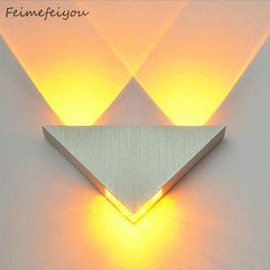 Modern Lâmpada LED Wall 3W alumínio Triangle Corpo Wall Light Para Bedroom Home Lighting Luminaire Banho luminária arandela 1020