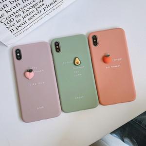 Cubierta trasera 3D fruto de aguacate del teléfono del modelo del iPhone por 12 12 11 Pro 12mini Huawei p30 Protección de silicona suave lindo