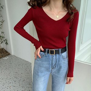 2019 Basic Solid Skinny Slender Elastic Simple Chic V Neck Slimming All Match Soft Knitted Sweaters 7 Colors