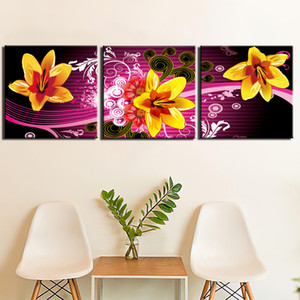 3 Pieces Lily Flowers Modern HD Printed Wall Art Canvas Pictures Painting Poster Home Decor For Living Room
