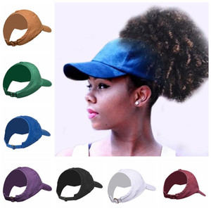 Ponytail Baseball Hats Empty Top Caps Solid Unisex Back Adjustable Cap Hat Outdoor Sports Snapbacks Breathable Ball Caps AHF1354