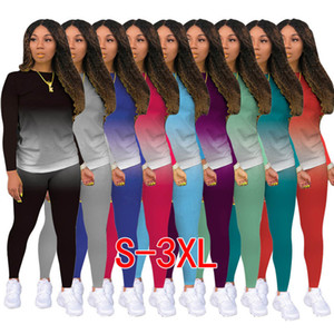 Women Tracksuit 2 Pieces Outfits Designer Pants Set Gradient Colour Jogging Suit Ladies New Fashion Casual Sportswear DHl 9 Colors 2020