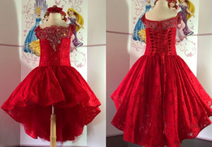 2021 Cute Red High Low Girls Pageant Party Dresses Princess Lace Bodice Beaded Crystal Square Neck Pageant Prom Formal First Communion Dress
