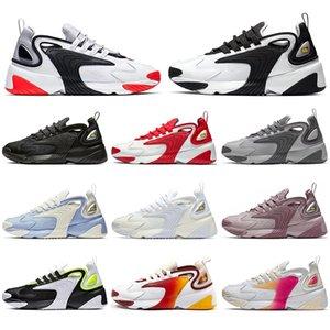 Top qualité unisexe Tekno Zoom 2K course Race Rouge Triple Noir Blanc Crémeux Blanc Violet Sport Sneakers chaussures de designer avec chaussettes taille 36-45