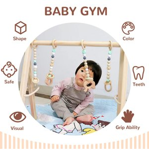 Wooden baby gym 4 wooden fitness toy baby tooth pads, stable folding gym frame wooden baby gift