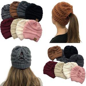 Moda Bayan Sonbahar Kış Bambu Örgülü Çapraz at kuyruğu Örgü Şapka Bayanlar Açık Yünlü Hat Isınma