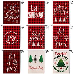 Neujahr Weihnachtsgarten Flagge Beidseitige Red Plaid Brief Designers Festival Hof Dekoration Banner Fahnen Hanging 47 * 32cm D92507