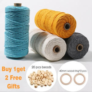 100% Cotton Macrame Cord 3mm Thread Rope String Home Decoration Accessories Macrame Wall Hanging DIY Plant Hangers Wedding Decor