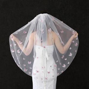 Bir Katman Veil ile Tarak Düğün Veil Katı Renk Kelebek Gelin Veils Ham Kenar Beyaz Fildişi Tatlı Gelin Veils