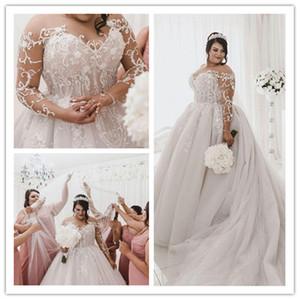 2021 Plus Size Wedding Dresses Sheer Jewel Neck Lace Applique Sweep Train Boho Wedding Gowns Custom Made Bohemia Long Beach Bridal Dress