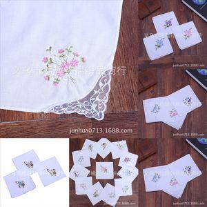 HXK ALLE Spitze Baumwolle bestickte Frauen Einzelwinkel Spitze Hochzeit Baumwolle Taschentuch Krawatte gefärbt