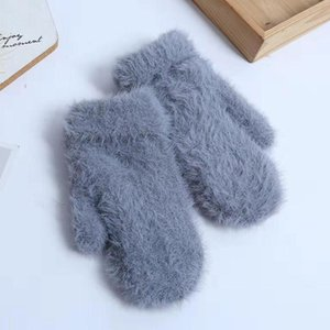 Luxury-1pair Winter Warm Women Gloves Comfortable Travel Adults Faux Fur Daily Soft Fashionable Mittens One Size Outdoor Camping