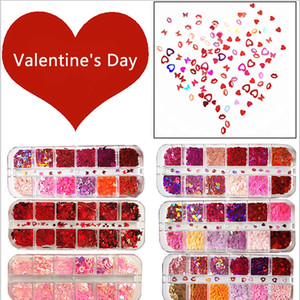 12 Grids Heart Nail Glitter Flakes 3D Sweet Sequins Design Nail Art Accessories Decals Valentines Day Decorations Manicure HHD4464