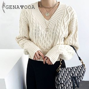 Genayooa Knitted Autumn Winter Sweater Women Sweaters And Pullovers Pull Femme Long Sleeve Lace Up Black Jumper Female Tops 200929