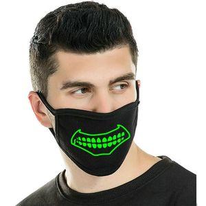 Zan Glow Skull Maskone face noire en néoprène Le demi-masques En Coiffures Taille Boout