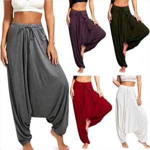 Casual Womens Harem Pants Drop Crotch Baggy Wide Leg Thai Hippy Boho Loose Aladdin Women Trousers mujer pantalones