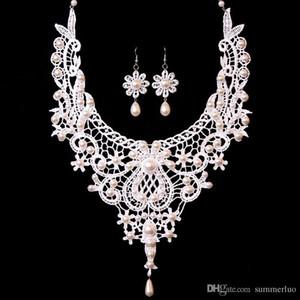 Koreanische Braut Party Accessoires Spitze Halskette und Ohrringe Schmuck Set Exquisite Perlen Anhänger Spitze Choker Halskette