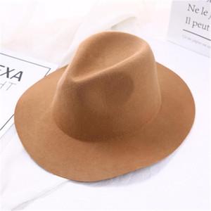 Wavy Bril Fedora Hat Женщины искусственная шерсть сплошной цвет падения шляпы для женщин модная войлочная шляпа винтажные шапки классические sombrero1