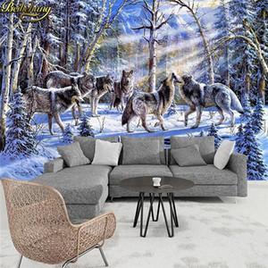 Papele de Parede 3D снежная группа волка фоторельтена обои гостиная кафе спальня гостиная стена бумаги 3d настил w5e1 #