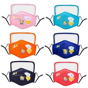 Washable Cloth Children Face Mask with Breathing Valve and Eyes Protective Screen Solid and Printing Design 20 Choices in Total