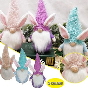 Pascua linda cosas sin rostro de peluche muñeca gnomo conejito decoración hecha a mano conejo elfo peluche juguetes muñeca figurillas fiesta fiesta decoración para el hogar fy7479