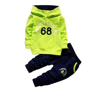 Toddler Tracksuit Autumn Baby Clothing Sets Children Boys Girls Fashion Brand Clothes Kids Hooded T-shirt And Pants 2 Pcs Suits 201031