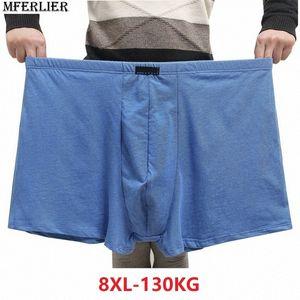 uomini Boxer Boxer cotone più grande formato 6XL 7XL 8XL grandi dimensioni blu biancheria intima nera elasticità U convesso mutande traspirante yJx7 #