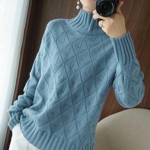 Pesado otoño e invierno Nuevas mujeres Casillo de cuello alto Suéter Wispy grueso suéter suelto tejido fondo grande