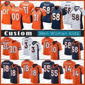 18 Peyton Manning Custom Hombres Mujeres Mujeres Jóvenes 10 Jerry Jeudy Drew Lock Von Miller Phillip Lindsay John Elway Shannon Sharpe Noah Fant Den Jerseys