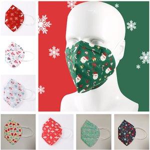 Noël design Masques visage Noël Imprimer 5 couche Masque d'arbre de Noël Elk Chapeaux Cadeaux Bouche Couverture PM2,5 à usage unique Masques de protection 2020
