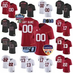 Пользовательские Alabama Crimson Tide Американский футбол Джерси 13 Туа Tagovailoa 17 Jaylen Waddle 2 Патрик Сертейн II 22 Najee Харрис Мужчины прошитой